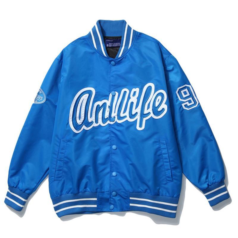 Mens Carta del béisbol del bordado chaquetas de Harajuku de la vendimia la chaqueta de bombardero de gran tamaño Otoño 2020 V-cuello Coats Streetwear