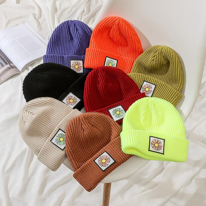 Winter Korean Beanie Cap New Candy Color Casual Hip Hop Hat Cotton Warm Elastic Knitting Hats for Women