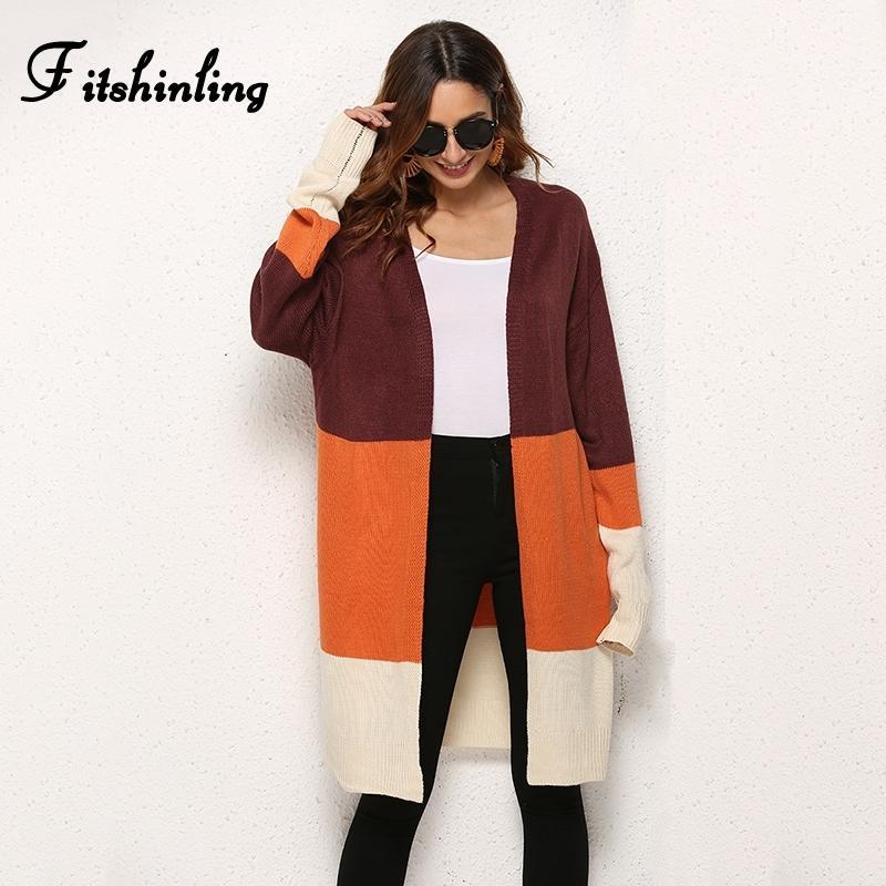 Fitshinling remiendo chaquetas de punto femeninos Invierno 2019 mujer géneros de punto delgado de la manera ropa de las mujeres larga chaqueta de punto chaquetas Y200909