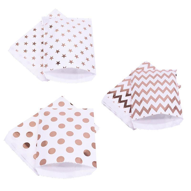 Hediye Çanta Kağıt Kılıfı Pembe Altın Kağıt Güvenli Çanta Doğum Düğün Misafirler 25pcs için Hediye Ambalaj Yana / Lot