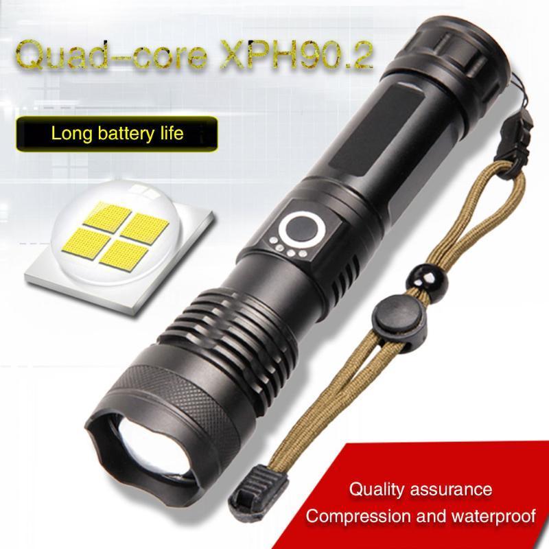 Фонарические светильники горелки LED XHP90 горелка высокая мощность аккумуляторная тактическая мощная мощная мощная XHP70.2 XHP90.2 LANTERN для охоты на охоту USB 18650