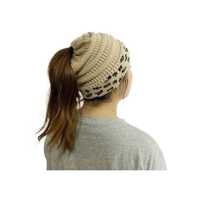 8 Syles 여성 Leopard 패치 워크 니트 비아 겨울 여성 양모 모자 따뜻한 두개골 비니 크로 셰 뜨개질 야외 뜨거운 모자