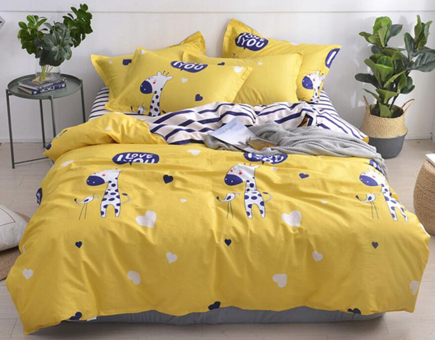 B4 designer bed comforters sets Print Bedding Set 4 Pieces Bed Sheet Europe and America Bedding Suit Business Hot Sell Quilt Cover
