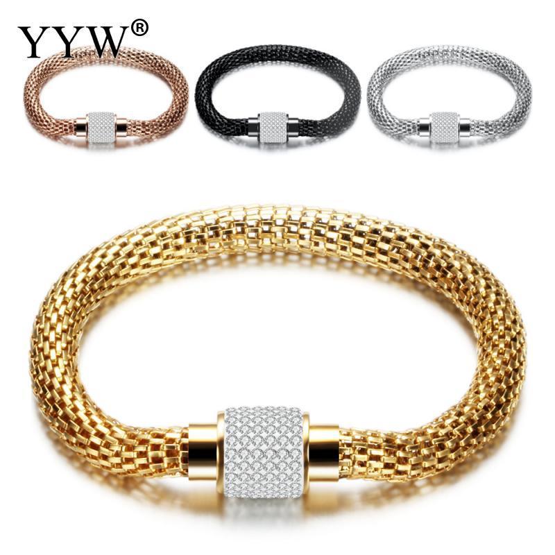 Mode Punk Mesh Bracelet en acier inoxydable Hommes Femmes bling luxe Bangle style européen Bijoux unisexe Accessoires Pulseiras