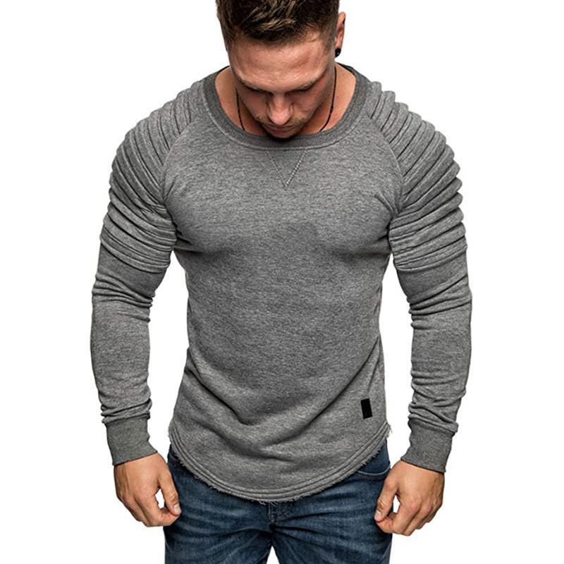 Männer Sweatshirts arbeiten Schulter gefalteter natürlicher Farben Sweatshirts beiläufigen mit Rundhalsausschnitt Langarm Sweatshirts Herrenbekleidung