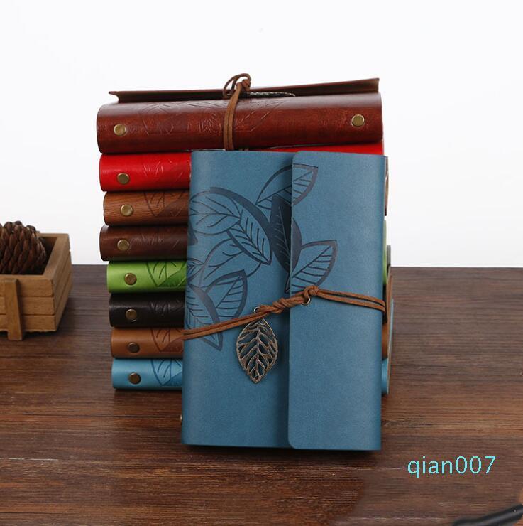 Retro Design en cuir Cahiers Journal Intime Journaux Agenda Papier Kraft Sketchbook Nouveau mode main Voyage Carnet cadeau LXL385-A