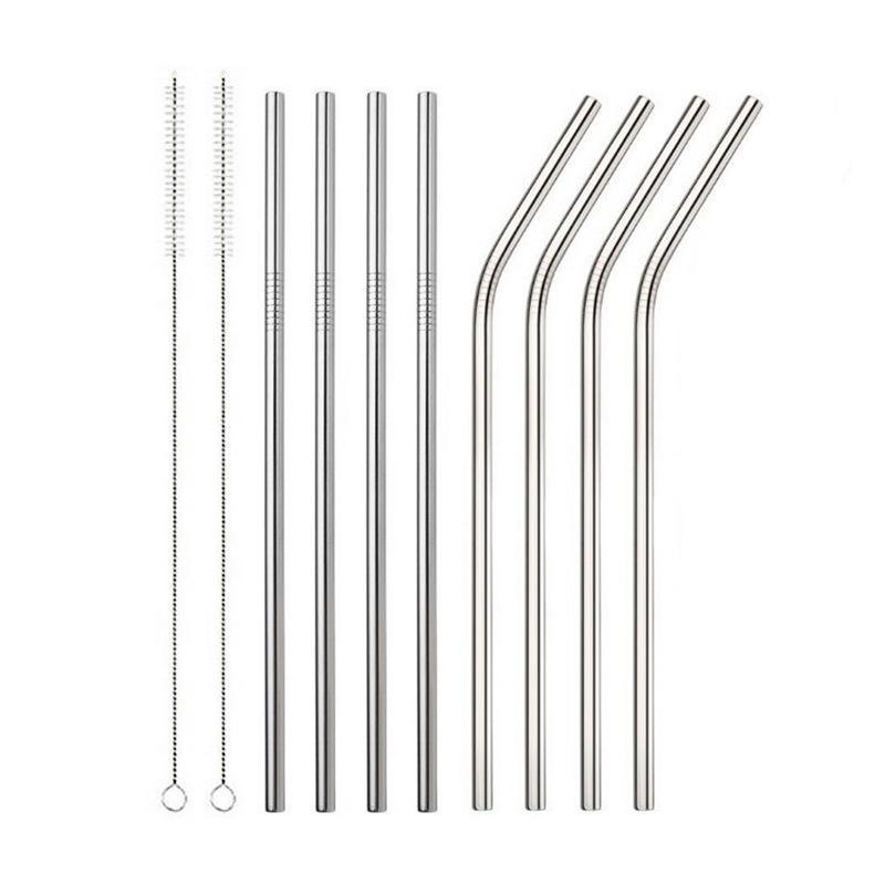6 * 215mm en acier inoxydable 304 Straw Bent et droit réutilisable potable paille colorée Pailles Cleaner paille métal Brosse barre d'outils potable