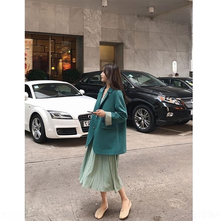 KPnbQ 2019 printemps et décontracté vert ins de style costume veste femmes automne lâche célébrité internet tempérament coréen petite veste de costume chic,