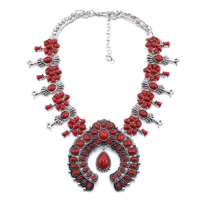 collar de estilo bohemio de flores con incrustaciones de aleación colgante de Europa y América grandes nombres de la moda collar de LY067