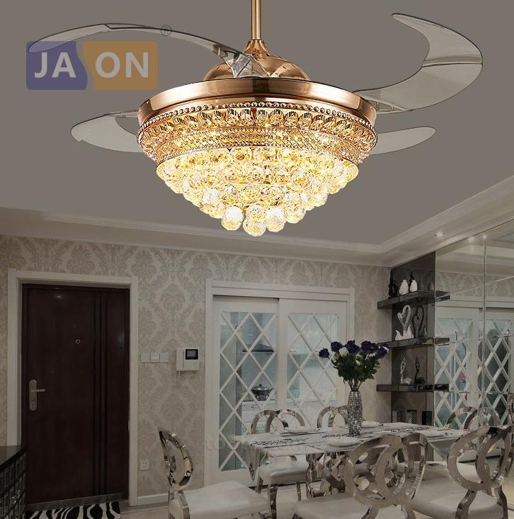 LED Современные хрустальные легированной стали ABS Золотой потолка Fan.LED Lamp.LED Light.Ceiling Lights.LED Потолок Light.For Фойе Комната