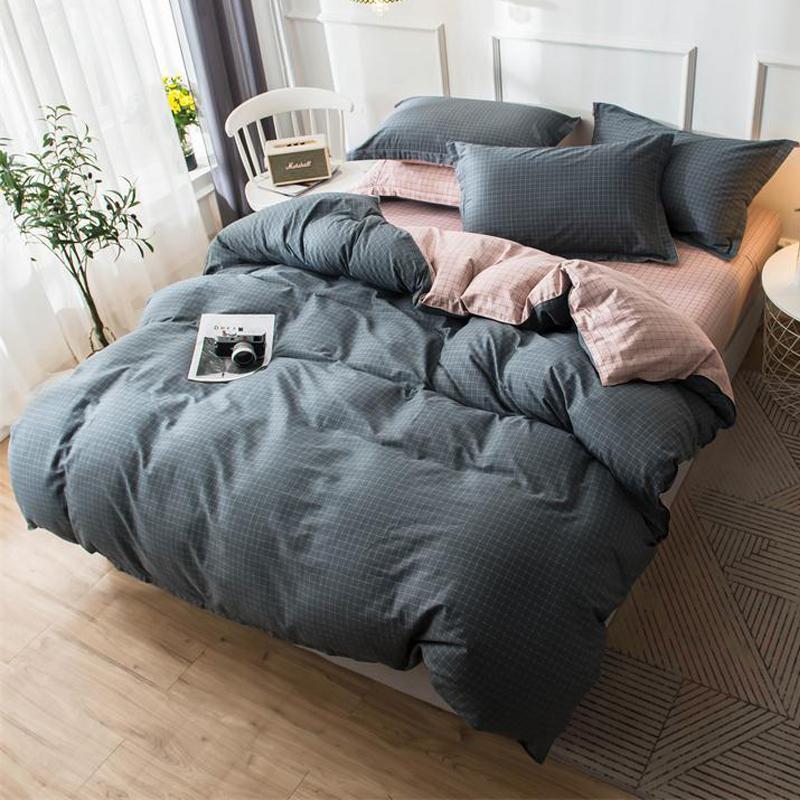 Baumwolle 4-teiliges Quilt 4pcs Bettwäsche-Set Twin Queen-Plaid Mikrofaser weiche Luxurious Kissenbezüge Bettwäsche Abdeckungen Grau
