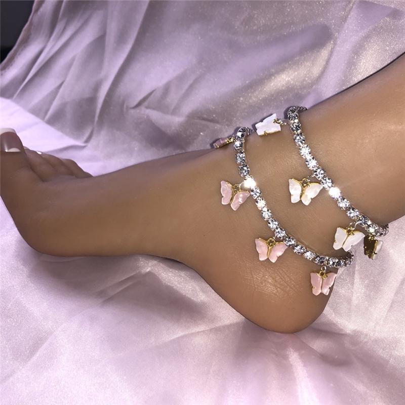 Acrylique papillon Femmes Anklets Glafe Out Tennis Chaîne Chaîne Bracelet Strass Silver Gold Animal Pendentif Charms Fashion Beach Pieds Bijoux