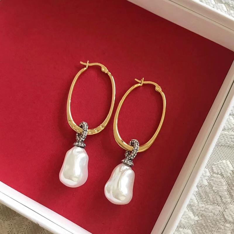 Горячие продажи мода Марка аномалистической жемчужные украшения для женщин цвета золота Пресноводной груши серьги кисточка Pearl Design Wedding Party серьги