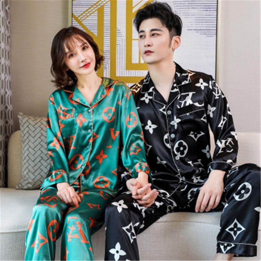 BZEL زوجين بيجامة الحرير الحرير Pijamas كم طويل زهرة مطبوعة ملابس له ولها البدلة الرئيسية بيجامة لمحبي رجل امرأة عشاق الكلور # 764