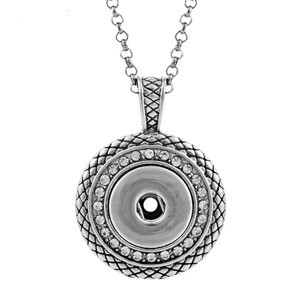 Paslanmaz Çelik Zincir ile Kristal Takı Değiştirilebilir Jewerly ile kolye Düğme Kolye