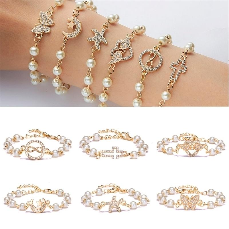 Korean fashion starfish cross butterfly angel wings charm bracelet with imitation pearl for women jewelry summer beach style