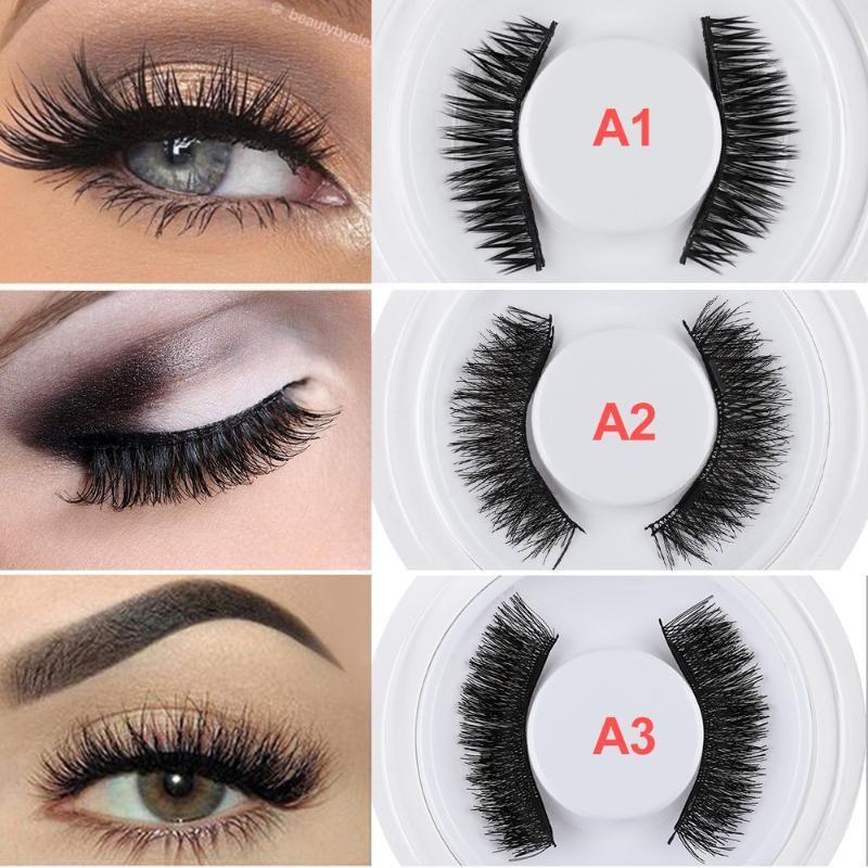 1 par 2020 Falso manera 3D magnética reutilizable pestañas del maquillaje de ojos pestañas postizas imán ojo pestañas Herramientas de extensión de la pestaña