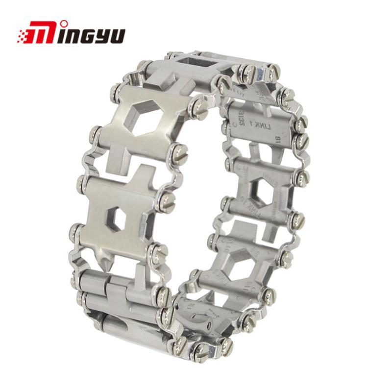29 En 1 inoxydable Bracelets en acier multi outil multi-fonction Bracelet noir Tournevis camping en plein air Randonnée Outil d'urgence