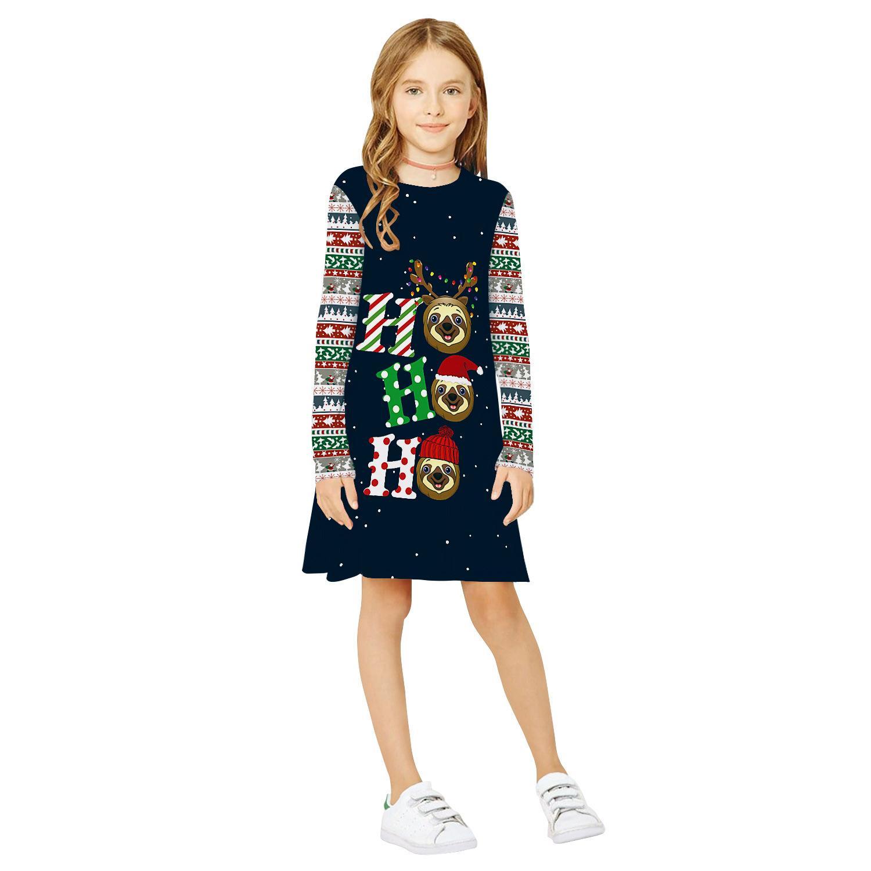 Populaires Elk Horn Christmas Digital Print Vêtements enfants col rond manches longues robe automne nouvelle jupe pour enfants