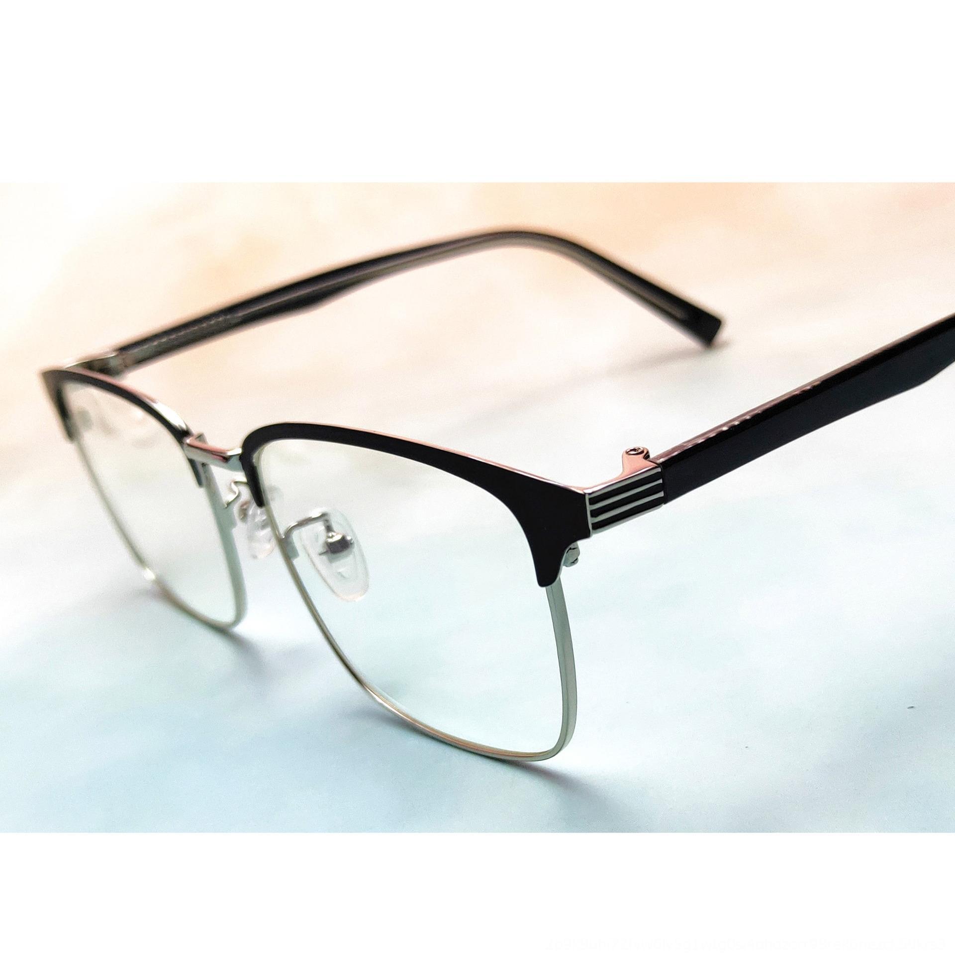 M6Eso 2020 yeni metal eklenti çerçeve erkekler sanatsal düz camlar, kalın kenar çelik deri çerçeve 1925 gözlük