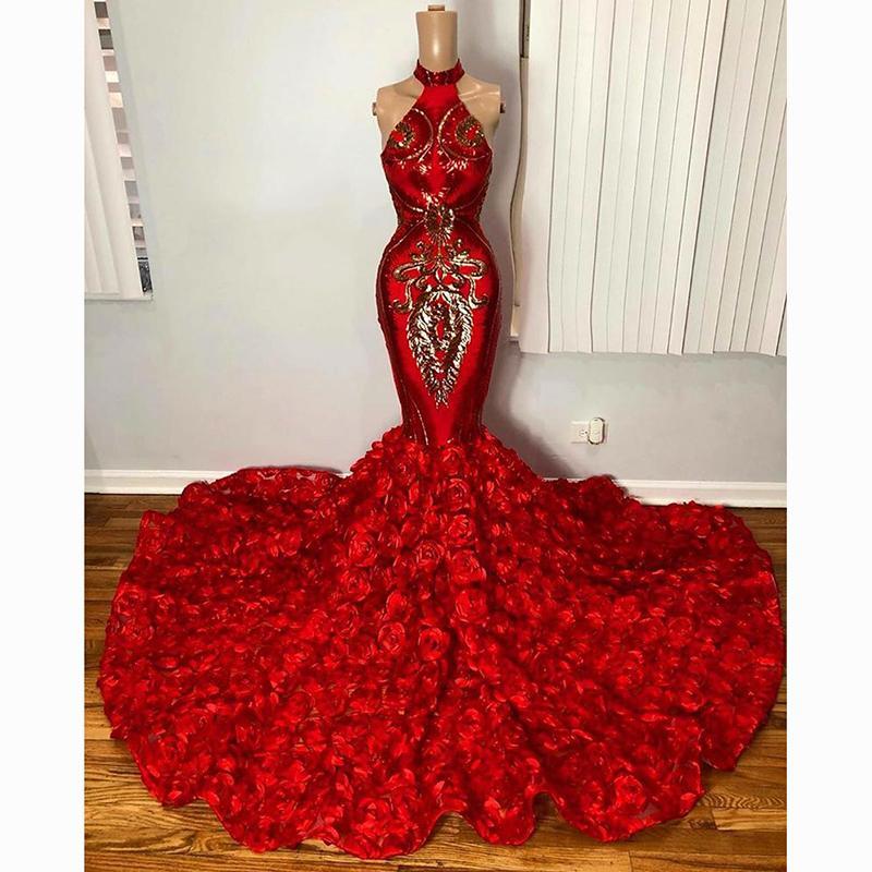 Elegant Red Mermaid Prom Dresses For Black Girl Africa Sparkly Gold Sequin Applique 3D Floral Formal Evening Gown vestidos