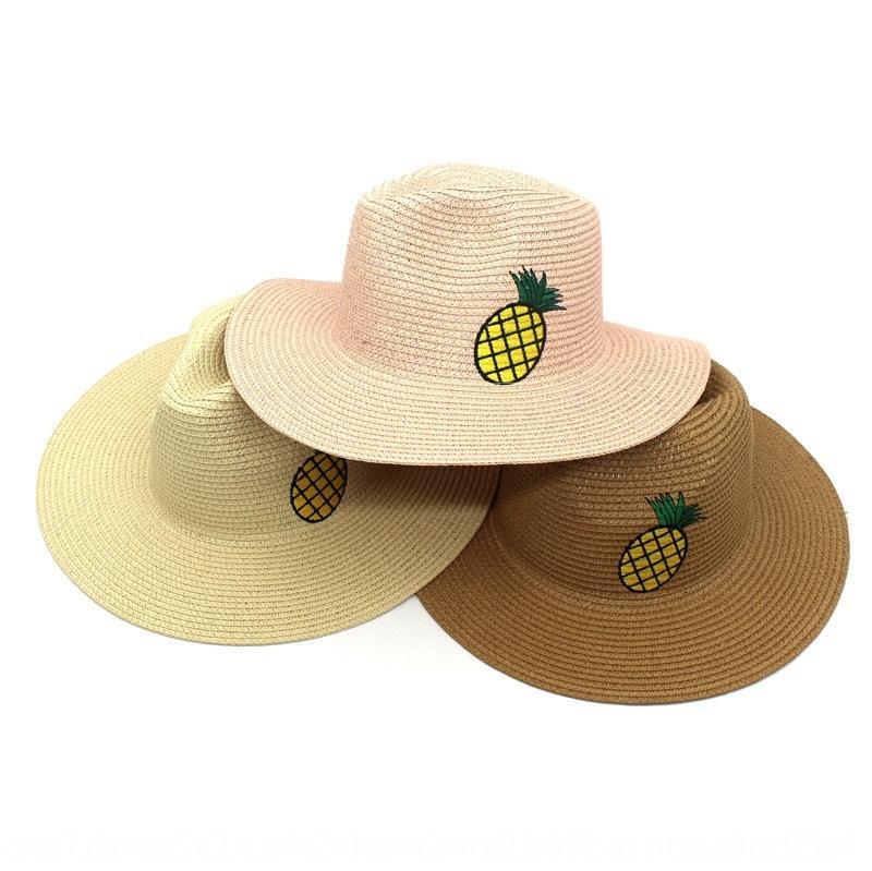 vFSsJ ananas bassin seau seau brodé pêcheur été nouveau paille hommes de soleil en plein air et le bassin chapeau de pêcheur de femmes chapeau