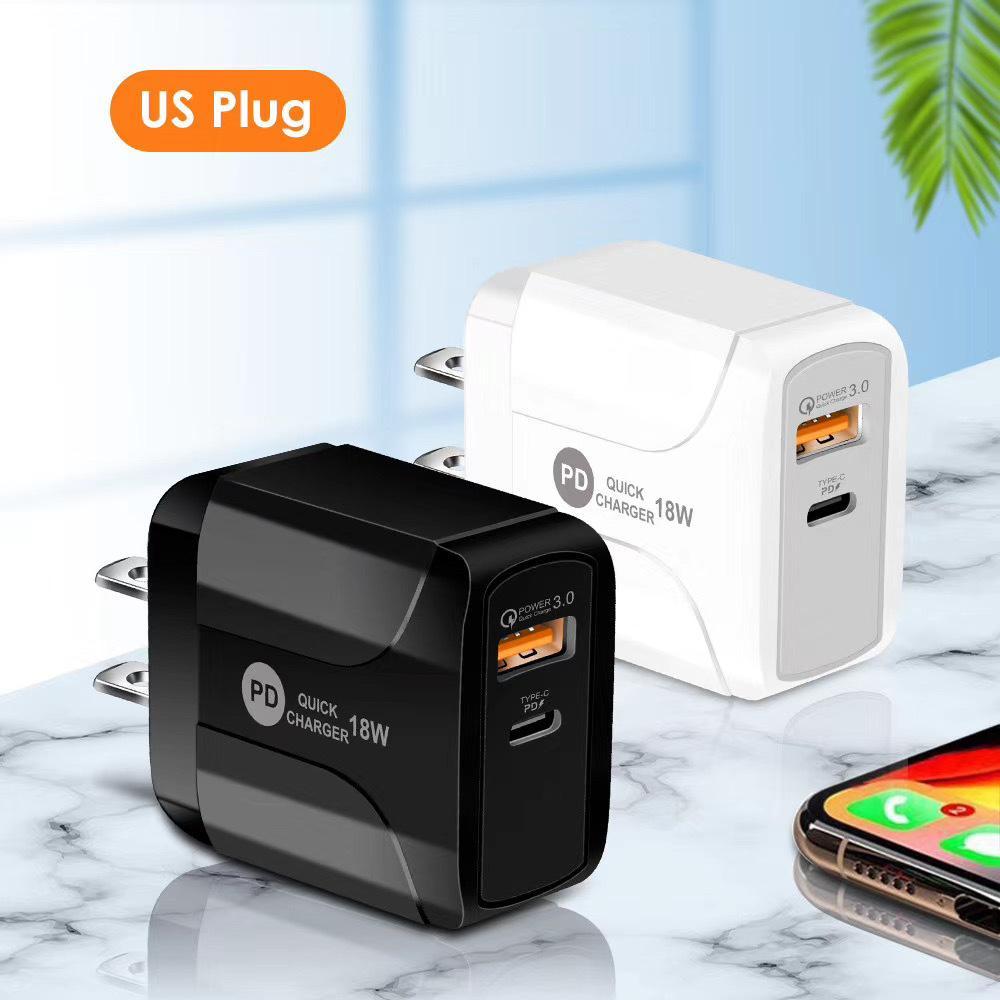 PD 18W Carregadores de telefone móvel Portas duplas carregador de cabo USB compatível QC3.0 carga rápida com LED para carregadores de telefone UE / US / UK