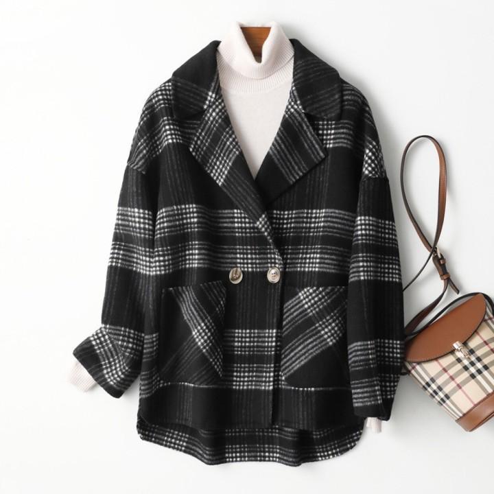 2020 damas abrigo largo de cachemira elegante traje a cuadros cuello abrigo de lana, abrigo de invierno cálido diseño de hendidura E99