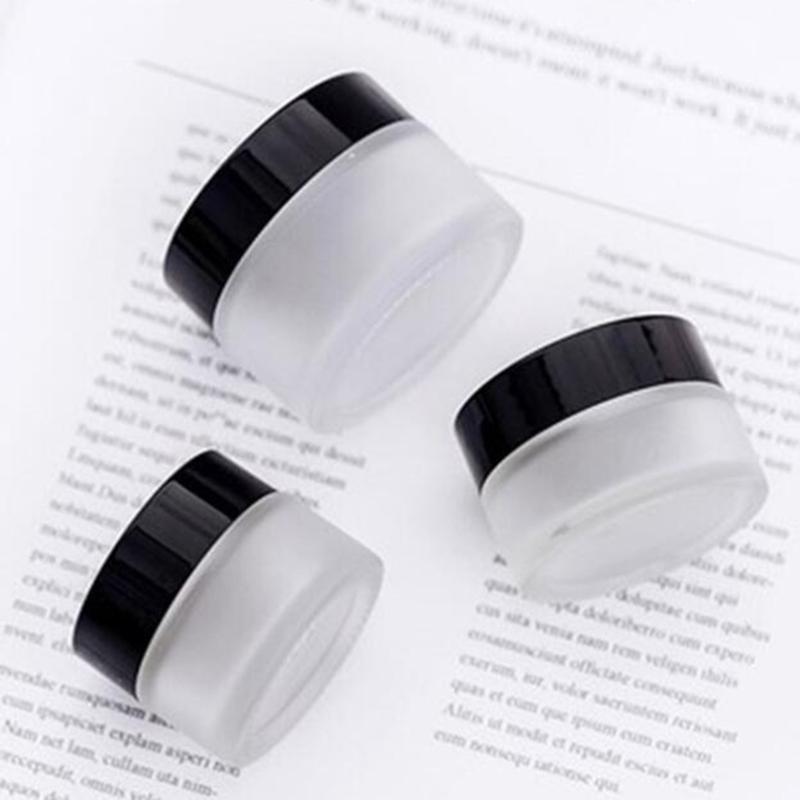 15g 20g 30g libera glassata Cosmetic POT vuoto vaso di trucco Crema Viso contenitori con coperchio nero Bottiglie di imballaggio