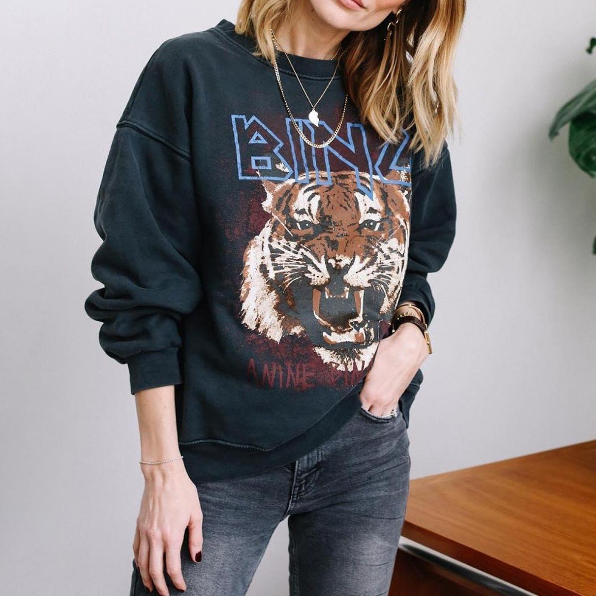 Cópia do tigre Vintage camisola com capuz Mulheres 100% Algodão All-jogo manga comprida Outono Hoodies 2020 preto solto Streetwear Tops T200729