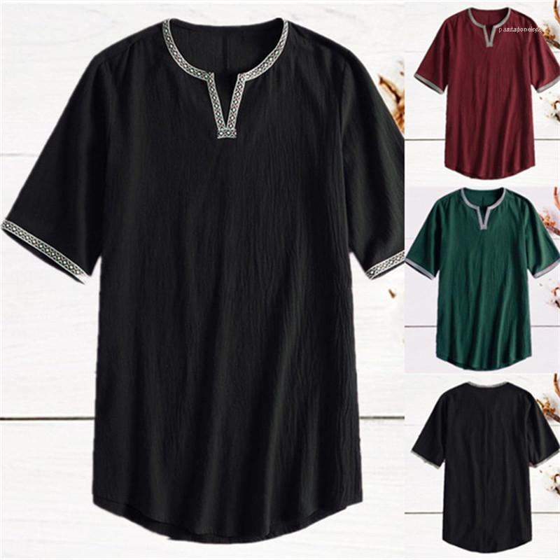 Мужская одежда Летних Mens конструктора Tshirts сплошного цвет с коротким рукавом Нерегулярной шея Mens Тис Плюс Размер Моды