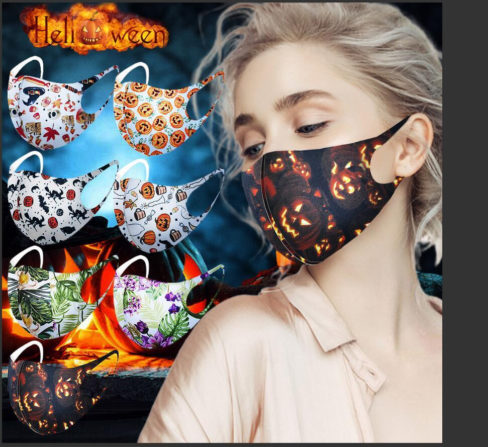 할로윈 디자이너 얼굴 보호 재사용 방진 빨 3D 인쇄 천 코튼 성인 블랙 Mascherine 포장 개별 마스크