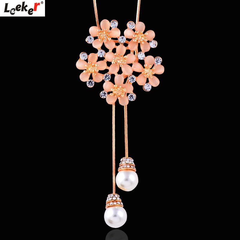 010 Charm Pearl Flowers LEEKER Long LK2 Necklace Opal Chain Jewelry Pendant Women Snake Statement Vrcmj