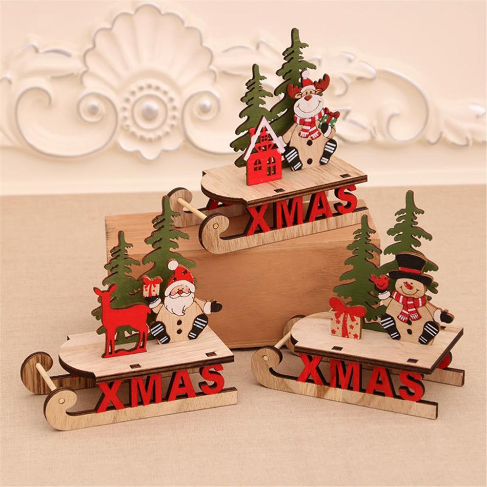 Navidad Decoraciones de madera de bricolaje de madera hueco ornamentos de navidad del trineo de Santa Claus y muñeco de nieve y ciervos ornamento Craft AHE1572