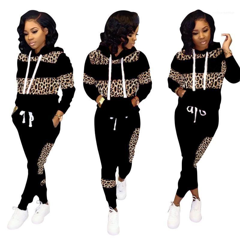 Leopardo de las mujeres diseñador chándales de conjuntos de manga larga con capucha casual 20ss las mujeres dos equipos Pieza