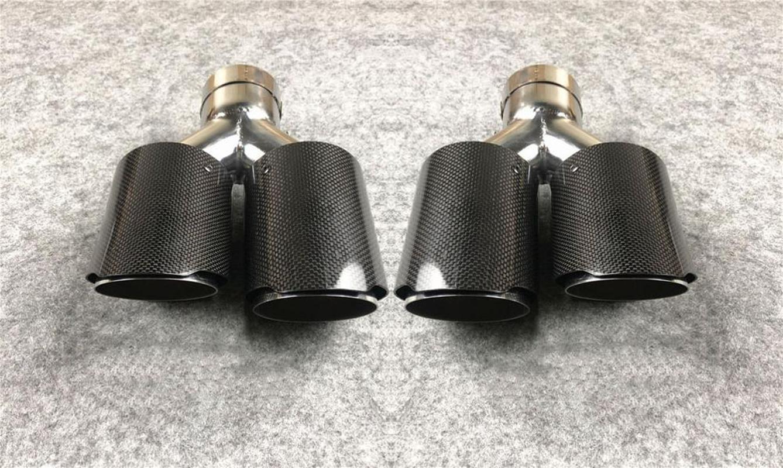 Одна пара Y Модель L + R Глянцевая Углеродные Выхлопные советы 304 из нержавеющей стали для Akrapovic Автомобили Тюнинг Глушитель Насадки Выхлопные трубы