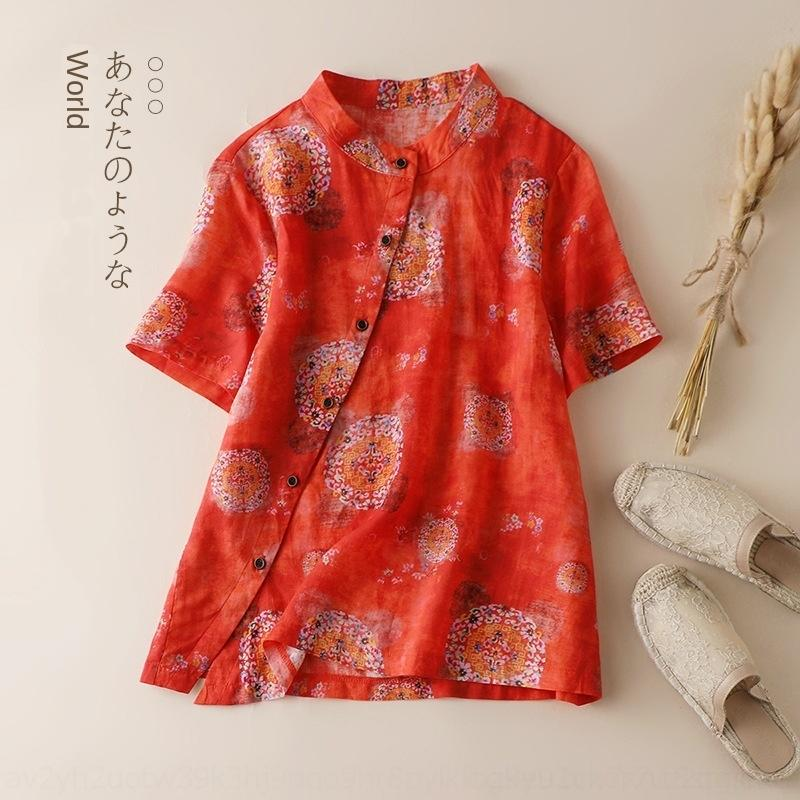 SxBKJ KHVdq ЖЕНСКАЯ с коротким рукавом женский темперамент с шелковой 6036 одежды и юбки 2020 новый цветок западный стиль шелк лен и хлопок л