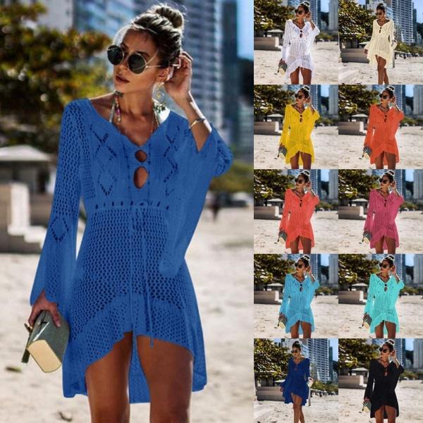 Women Beachwear Bikini Cover Ups Summer Swimwear Hollow Out Knit Skirt Trumpet Sleeve Swimsuit Blouse Sun Protection Clothing
