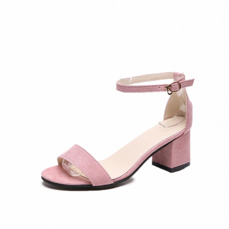 Nova 2020 Salto com tira no tornozelo Sapatos Mulheres Sandálias de Verão Mulheres de dedo aberto Chunky Salto Alto Party Dress Gladiator Sandals Tamanho 40 OtXR #