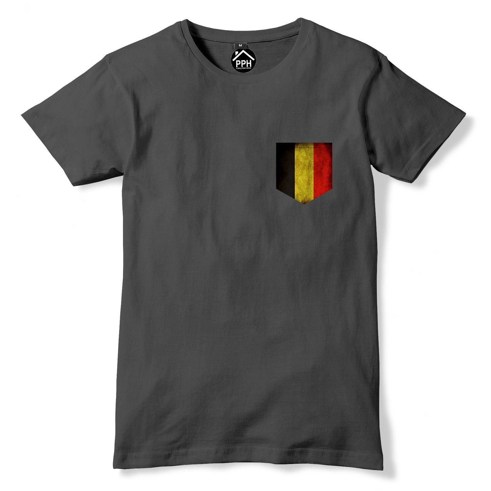 Tees 2019 estiva da uomo di nuovo stile di alta qualità Tees Vintage Stampa T Shirt Pocket Belgio Flag Fan Menst Shirt Company