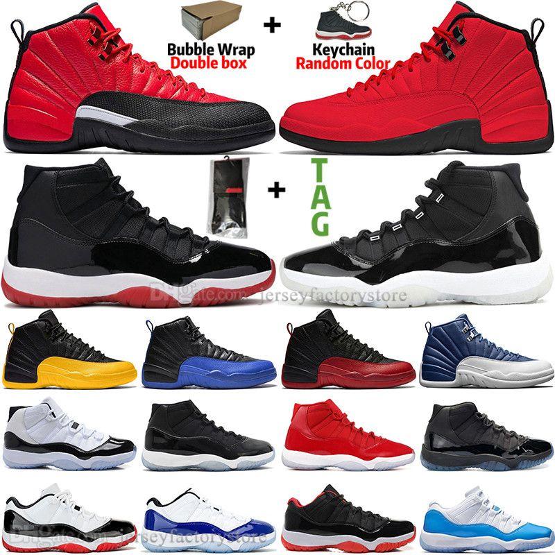 High 11 11S 25ème anniversaire Bred Blue Blue Concord 45 Confiture de l'espace Chaussures de basketball Mens 12 12S Indigo Inverse grippe jeu Royal Fiba CNY Sneakers