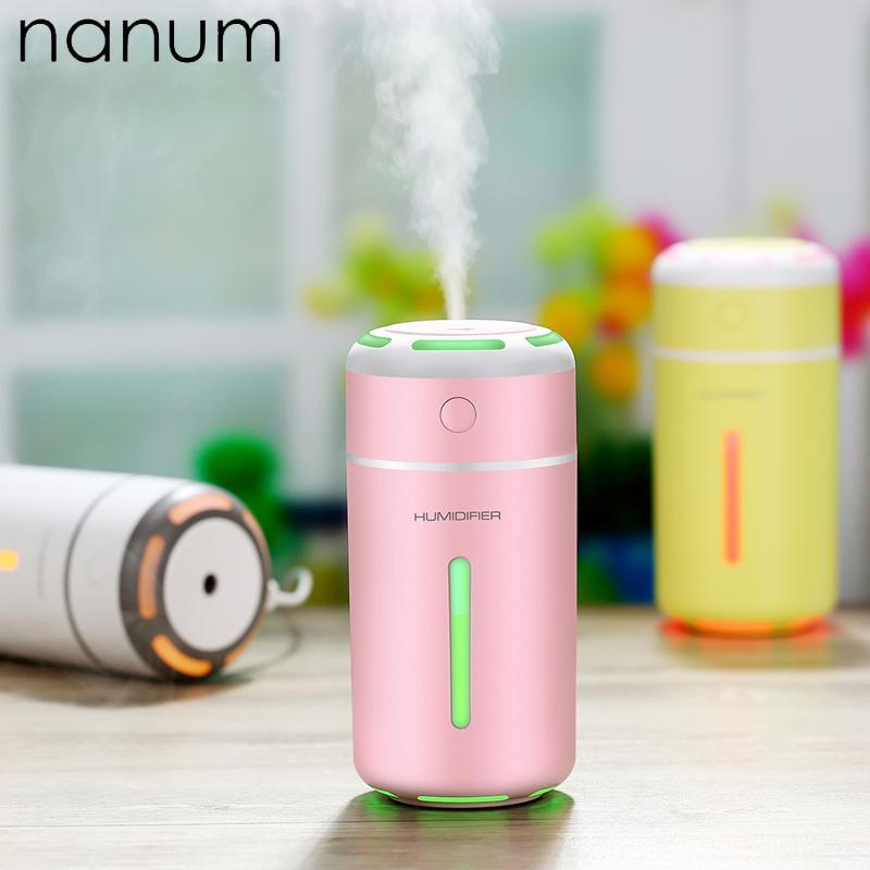 Aroma difusor de aceites esenciales Mini ultrasónica Qiao Le colorido lightsHumidifier purificador de aire de luz LED ambientador de aire del coche del USB Mi