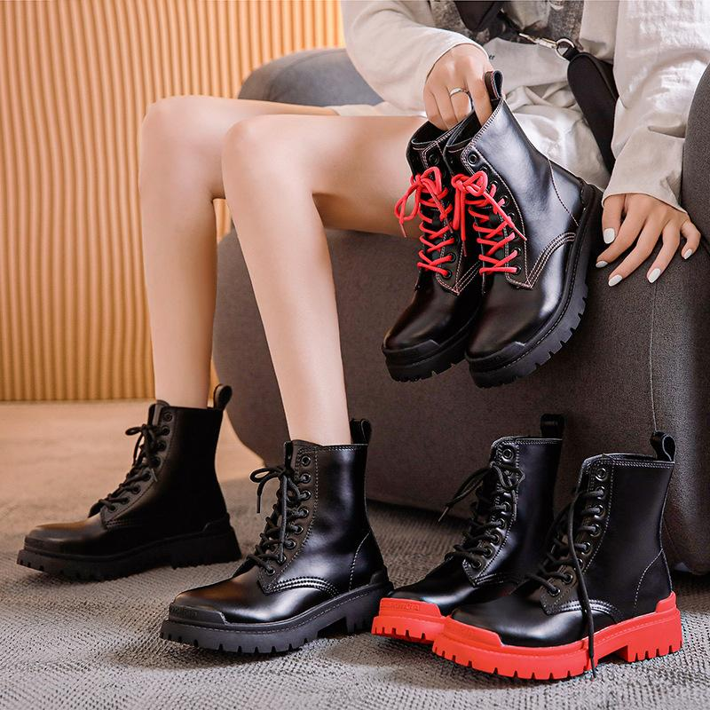 British Fashion Femmes en cuir rose Bottes Chaussures à lacets Bottines Femme talons bas Zapatos Mujer Retro Motorcycle Bottes