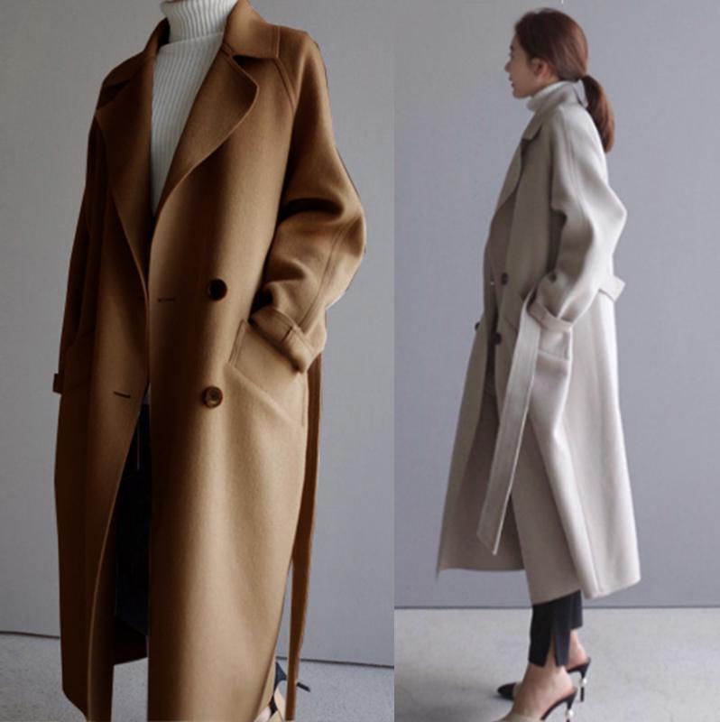 Automne Hiver long manteau de laine coréenne de femmes en vrac en laine mélangée Manteau Outwear Étudiant Longfeng Veste en laine Casual femmes Pardessus