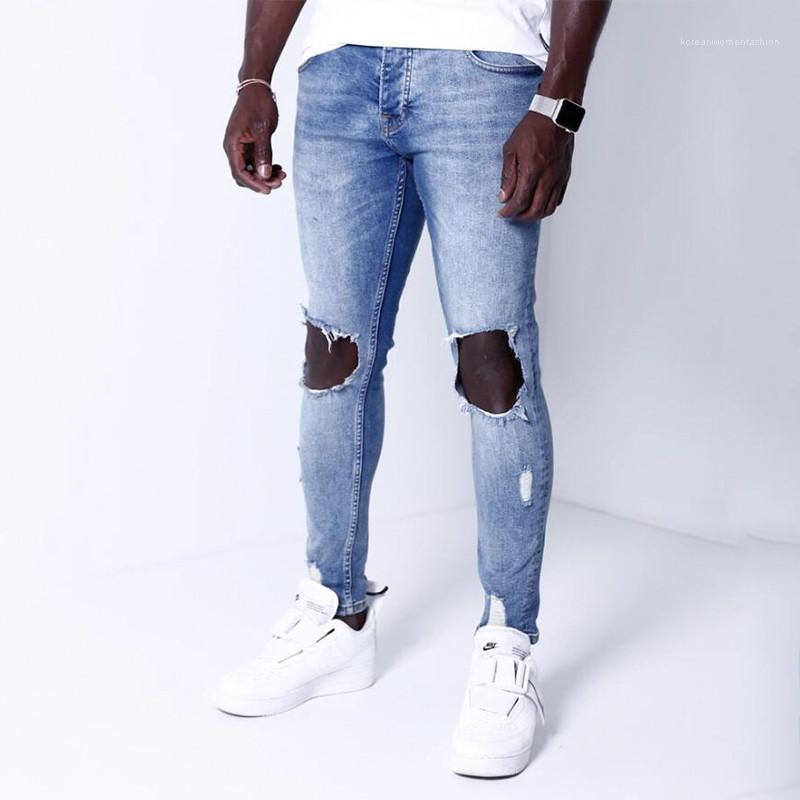 Мода Тощий Омывается отбеленная Мужские брюки карандаш Повседневный Мужчины Одежда Big Hole Щитовые Мужские дизайнерские джинсы
