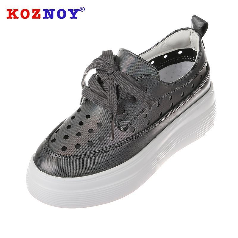 Koznoy Mulheres fundo plano Calçados Moda Primavera Rodada Toe rasos deslizamento respirável sapatos confortáveis sólido único Causal Lace