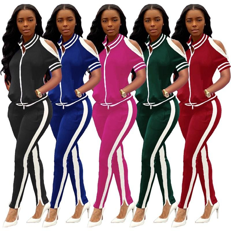 Women 2 piece set summer fall clothes t-shirt pants running jogger suit sportswear leggings outfits crew neck column hotselling gym 0432