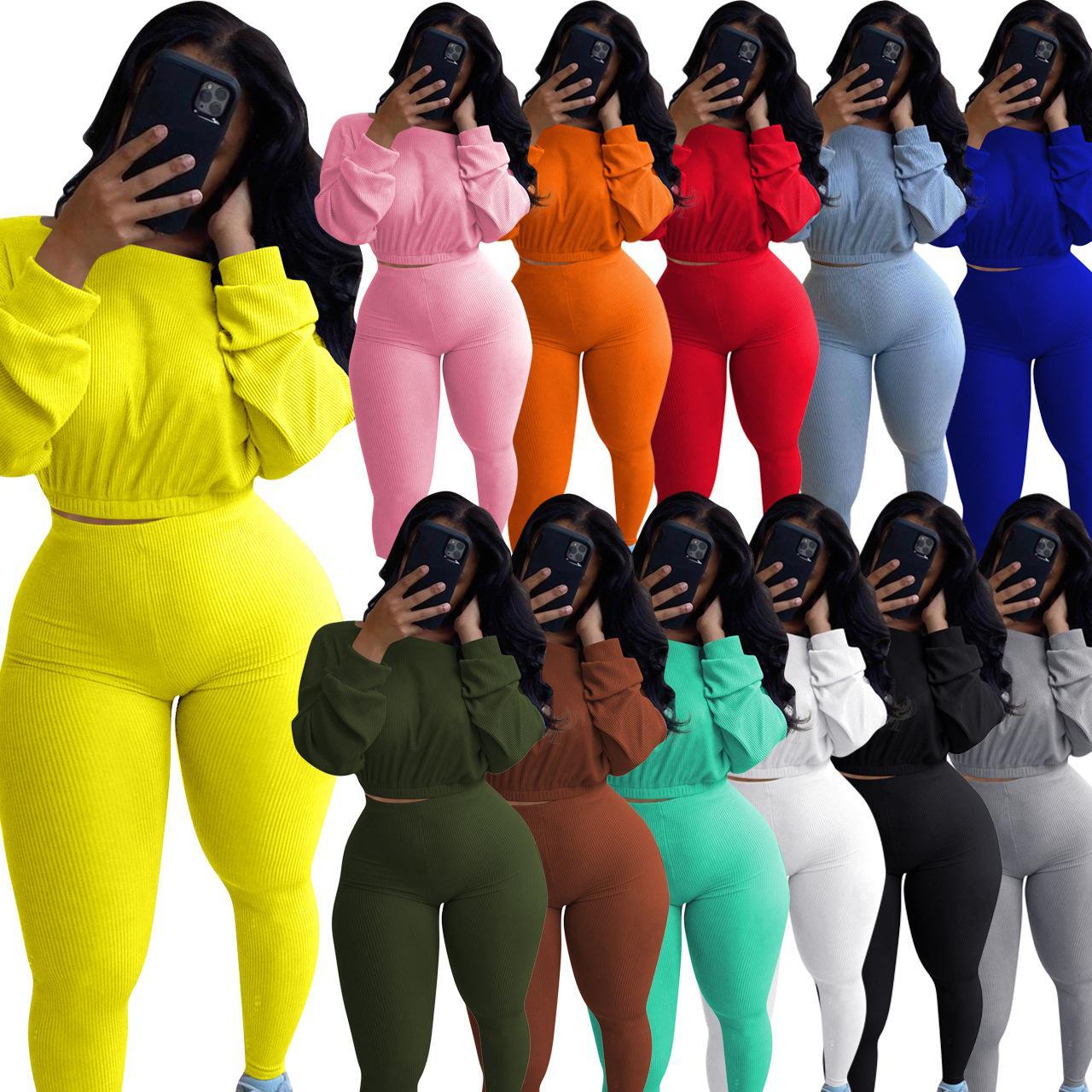 2020 Sonbahar Ve Kış Kadınlar 2 Adet eşofman Katı Renk Uzun kollu Kaburga Spor Suit Kazak Spor Casual Giyim Plus Size Clothi