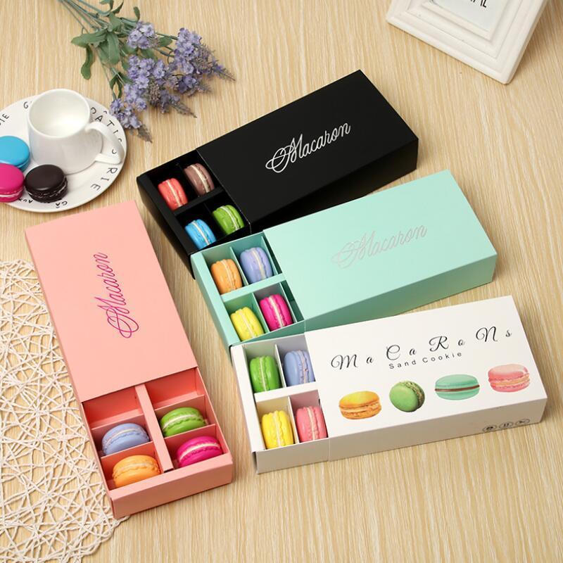 Macaron Box удерживает 12 полость 20 * 11 * 5см пищевые упаковки подарки бумажные ящики для хлебобулочных коробок для хлебобулочного кекса с закусками конфеты печенье булочка коробка AHB3224