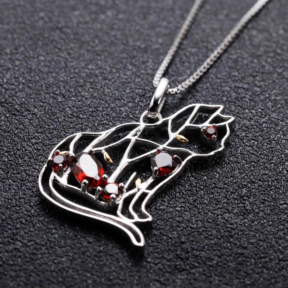 Abiding Cat Animal Garnet Gemstone Women Handmade Fashion 925 Sterling Silver Necklaces Jewelry Pendant